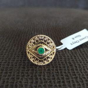 Shivam Evil😈 Eye👁️ Green💚 Onyx Statement Ring